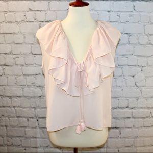 Chloe champagne pink hi low ruffle blouse